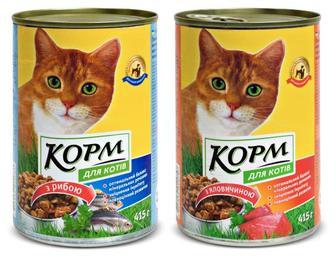 Корм для котів з яловичиною/рибою, Повна Чаша,  415 г