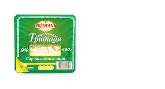 Скидка 20% ▷ Сир кисломолочний Творожна традиція 9%, PRESIDENT, 450г