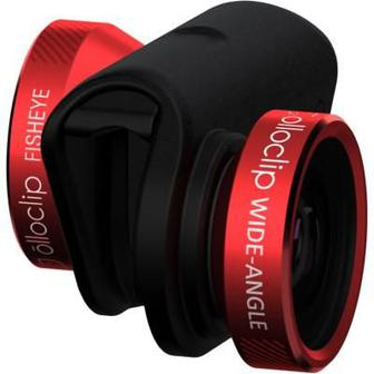 Объектив для смартфона OLLOCLIP 4-in-1 Lens System- iPhone 5/5S Red Lens/Black