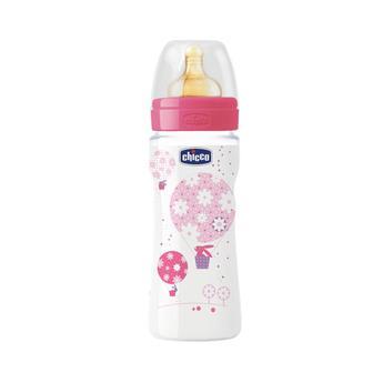 Бутылочка Chicco Wellbeing с латексной соской, для девочек, 4+, 330 мл
