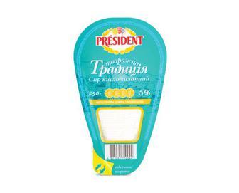 Скидка 28% ▷ Сир кисломолочний President «Творожна традиція» 5% жиру, 250г