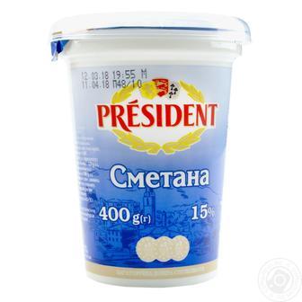 Сметана Президент 15% пластиковый стакан 400г