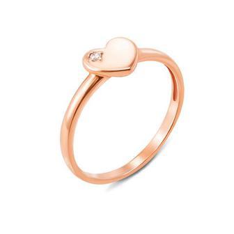 Золотое кольцо с фианитом. Артикул 12252/375