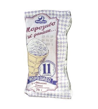 """Морозиво """"11 копійок"""" біле, з какао Ласунка 70г"""