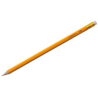 Олівець графітовий НВ, жовного кольору з гумкою