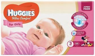 Подгузники Huggies Ultra Comfort Jumbo р.3 (5-9 кг) для девочек 56 шт
