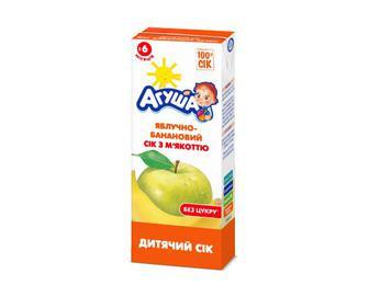 Сік «Агуша» без цукру яблучно-банановий з м'якоттю, 200 мл