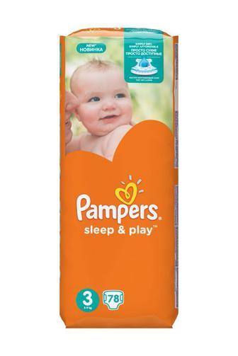 Подгузники PAMPERS Sleep & Play р.3 (5-9кг) 78 шт.