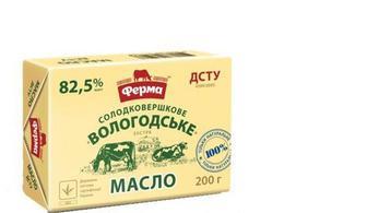 Масло Вологодське солодков. екстра, 82,5%, 200г, Ферма