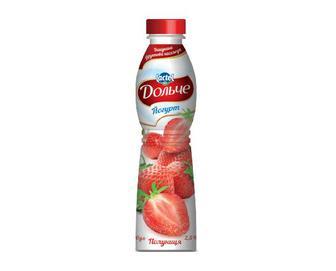 Йогурт «Дольче» 2,5% жиру з наповнювачем полуниця, 0,5кг