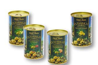 Оливки з лимоном/ тунцем/ креветками/ без кісточки Своя Лінія 280 г