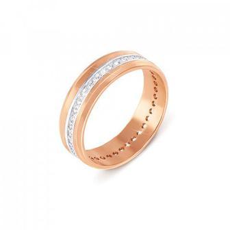 Комбинированное обручальное кольцо с фианитами Артикул 1090