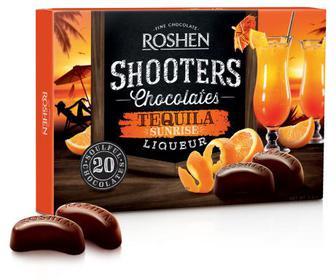 Цукерки Shooters Tequila sunrise Цукерки у чорному шоколаді з начинкою лікер з ароматами апельсину Рошен