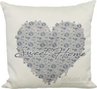Подушка декоративна Sweet Home blue 45x45 см з малюнком