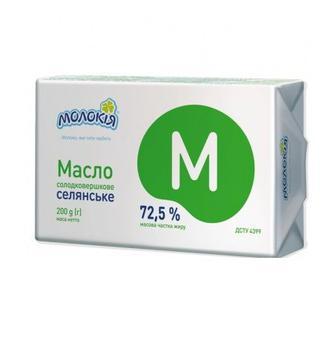 Масло Селянське 72,5%Молокія 200г