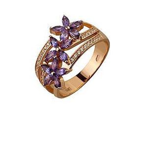 Золотое кольцо Цветы с аметистами и фианитами