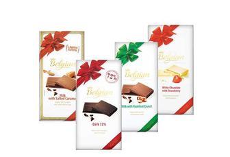 Шоколад білий зі шматочками полуниці/молочний з солоною карамеллю/ молочний з горіховими кранчами/чорний  Belgian 100 г