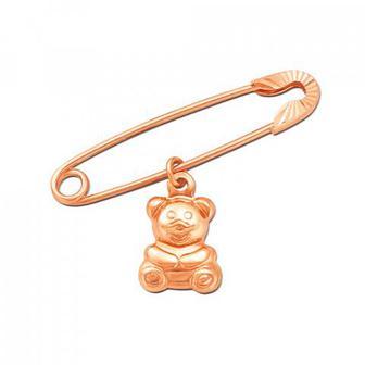 Золотая брошь-булавка с подвеской Мишка Артикул 04022