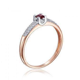 Золотое кольцо с рубином и бриллиантами. Артикул 53146/14/1/8460