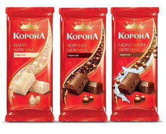 Шоколад мол.,чорн. 85г, пористий мол., чорн.,біл., 80г, Корона