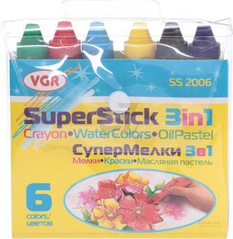 Набір для малювання VGR Супер крейда 3 в 1 6 кольорів SS2006