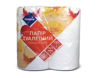 Папір туалетний тришаровий білий із жовтим тисненням «Премія»® 4 рулони/уп.