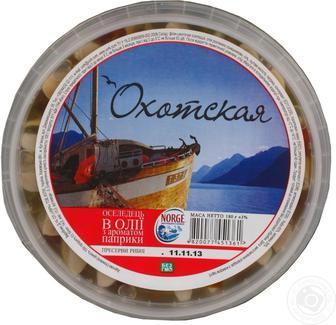 Оселедець в олії з ароматом паприки Охотская 180г