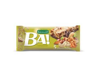 Батончик злаковий Bakalland 5 горіхів, 40 г