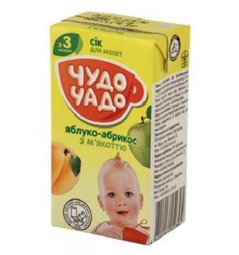 Сок яблочно-абрикосовый с мякотью и сахаром для детей с 4 месяцев Чудо чадо 0,2л