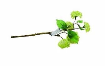 Штучна квітка гілка з квітками калини 37см зелений