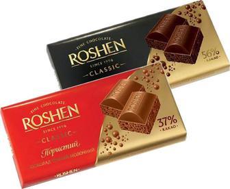 Шоколад Roshen пористий мол.та екстрачорний 85г