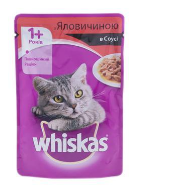 Корм для котів Whiskas з яловичиною в соусі, 100 г