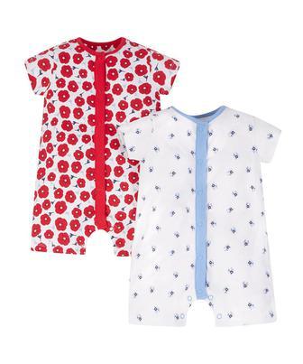 Червоний та блакитний квіткові ромпери - 2 шт від Mothercare