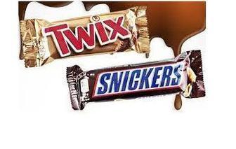 Батончики Snickers та Twix 50,51г