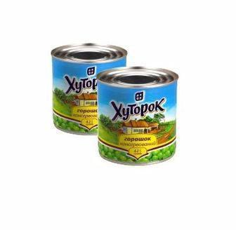 Горошок зелений або кукурудза цукрова консервовані Хуторок 425 мл