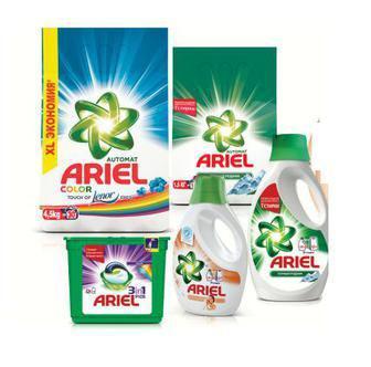 Порошок для автоматичного прання 1,5 кг/ 4,5 кг, для ручного прання 450г  Капсули 23 шт Гель для прання 1,95л Ariel