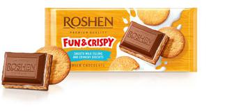 Шоколад Roshen з мол.начинкою та печивом115г