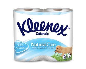 Папір туалетний Kleenex Natural 3-шаровий, 4рулони/уп