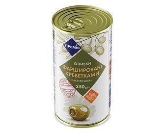 Оливки зелені фаршировані креветками «Премія»® 350г