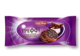 Печиво «Треффі» цукрове перешароване начинкою в молочній глазурі Своя Лінія 100 г