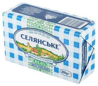 Масло солодковершкове 63% Селянське 200 г