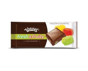Шоколад Wawel молочний Fresh & Fruity, зі шматочками желе, 100 г