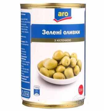 2be0ae0d87a65c Скидка 2%* ▷ Оливки зелені з кісточкою Aro 314г ▷ Minus50.Net
