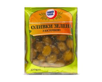 Оливки зелені з кісточкою «Повна Чаша»® 190г
