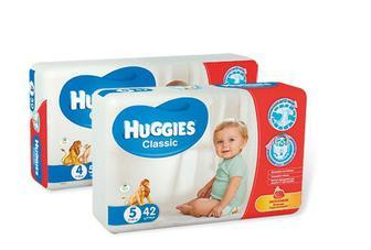 "Підгузники ""Huggies Classic"" 3 (4-9кг) 58шт, 4 (7-18кг) 50шт, 5 (11-25кг) 42 шт"