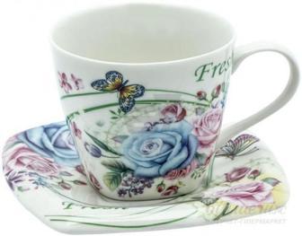 Чашка з блюдцем Свіжість 220 мл QY06-051