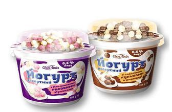 Йогурт десертний зі злаковими кульками в шоколаді/ з біло-рожевими рисовими зірочками, 6,5 % Своя Лінія 185 г