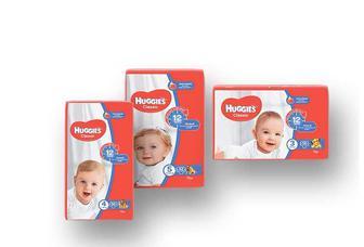 Підгузники дитячі гігієнічні Classic (3) 4-9 кг, 58 шт./ (4) 7-18 кг, 50 шт./(5) 11-25 кг, 42 шт. Huggies