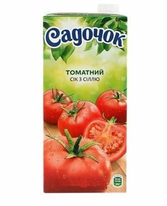 Сік томатний, персиковий нектар мультифруктовий Садочок 1,93л