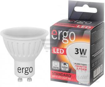 Лампа світлодіодна Ergo STD 6259766 3 Вт MR16 матова GU10 220 В 3000 К